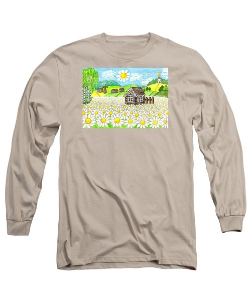 House With Camomiles, Painting Long Sleeve T-Shirt by Irina Afonskaya