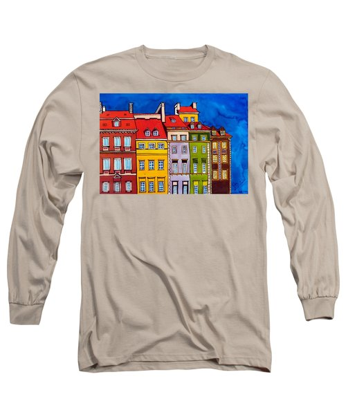 Houses In The Oldtown Of Warsaw Long Sleeve T-Shirt by Dora Hathazi Mendes