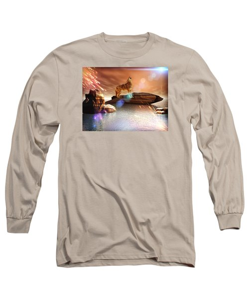 Long Sleeve T-Shirt featuring the digital art Howling Wolf Tropical by Jacqueline Lloyd