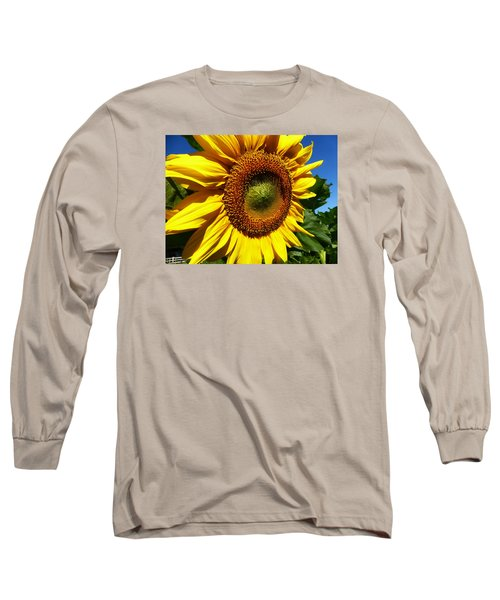 Huge Bright Yellow Sunflower Long Sleeve T-Shirt by Tina M Wenger