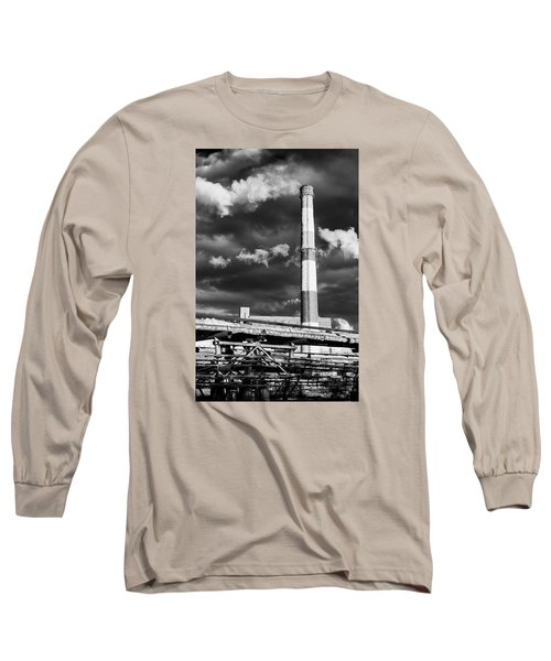 Huge Industrial Chimney And Smoke In Black And White Long Sleeve T-Shirt by John Williams