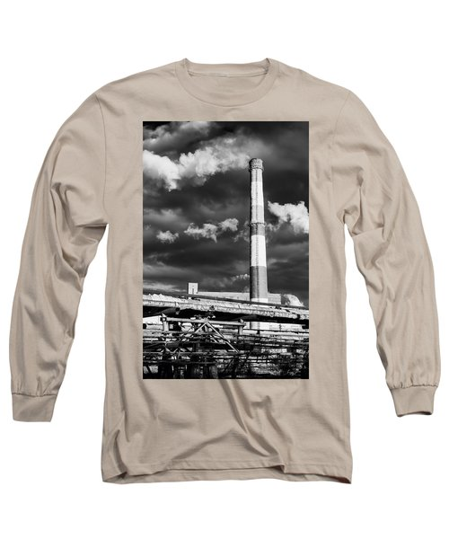 Huge Industrial Chimney And Smoke In Black And White Long Sleeve T-Shirt