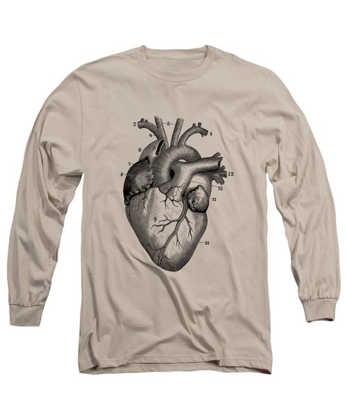 Human Heart Diagram - Vintage Anatomy Long Sleeve T-Shirt