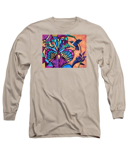 Hummingbird And Stained Glass Hearts Long Sleeve T-Shirt by Lori Miller