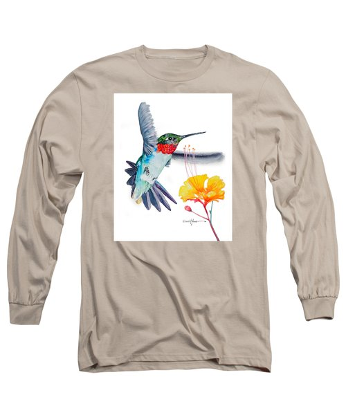 Da169 Hummingbird Flittering Daniel Adams Long Sleeve T-Shirt