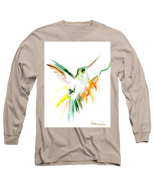 Hummingbird Green Orange Red Long Sleeve T-Shirt by Suren Nersisyan