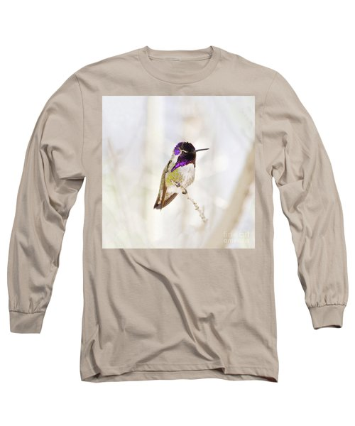 Hummingbird Larger Background Long Sleeve T-Shirt by Rebecca Margraf