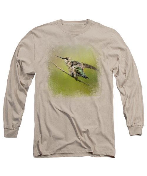 Hummingbird On Lime Long Sleeve T-Shirt
