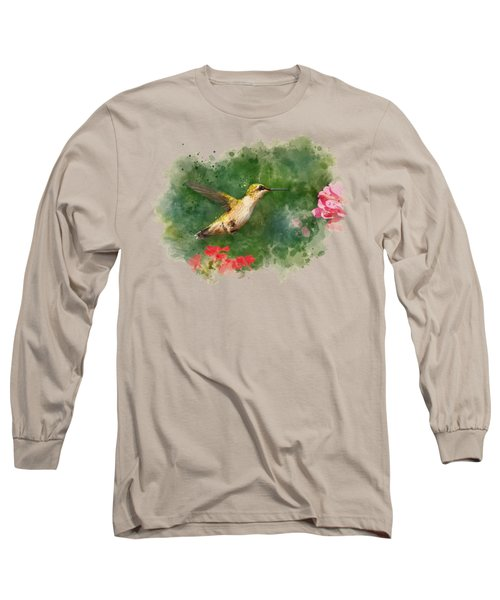 Long Sleeve T-Shirt featuring the mixed media Hummingbird - Watercolor Art by Christina Rollo