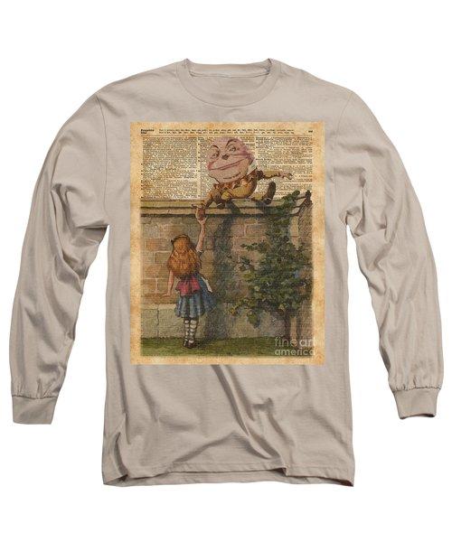 Humpty Dumpty Alice In Wonderland Vintage Dictionary Art Long Sleeve T-Shirt