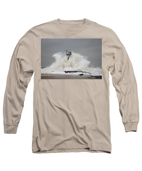 Hurricane Jose Wave At The Inlet Jetty Long Sleeve T-Shirt