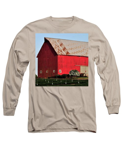 Hwy 47 Red Barn 21x21 Long Sleeve T-Shirt by Jerry Sodorff