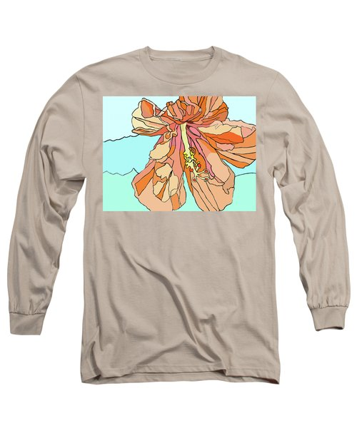 Hybiscus And Blue Long Sleeve T-Shirt