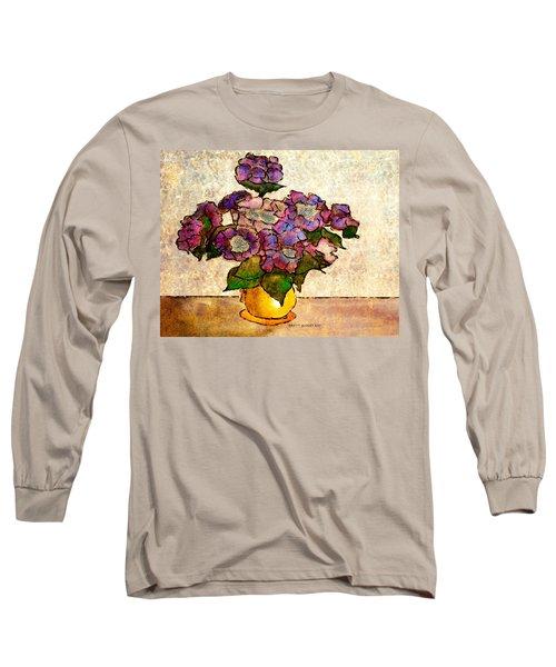 Hydrangeas In Yellow Jug Long Sleeve T-Shirt