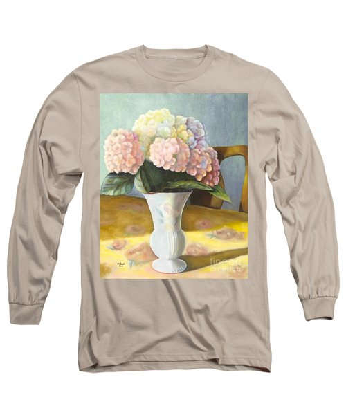 Long Sleeve T-Shirt featuring the painting Hydrangeas by Marlene Book