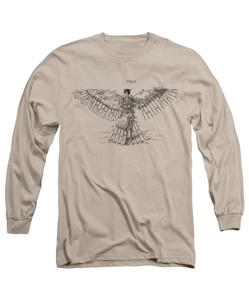 Long Sleeve T-Shirt featuring the digital art Icarus Human Flight Patent Artwork - Vintage by Nikki Smith