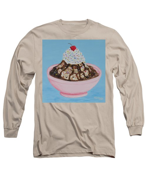 Long Sleeve T-Shirt featuring the painting Ice Cream Sundae With Sprinkles by Nancy Nale