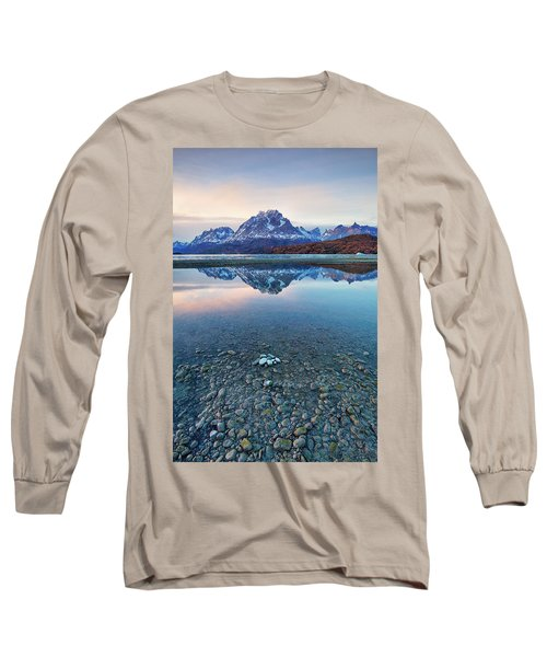 Icebergs And Mountains Of Torres Del Paine National Park Long Sleeve T-Shirt by Phyllis Peterson