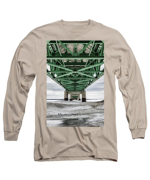 Long Sleeve T-Shirt featuring the photograph Icy Mackinac Bridge In Winter by John McGraw