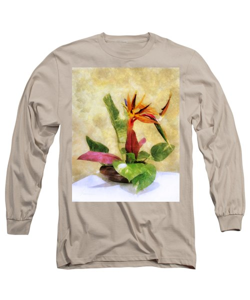 Ikebana Bird Of Paradise Long Sleeve T-Shirt by Francesa Miller