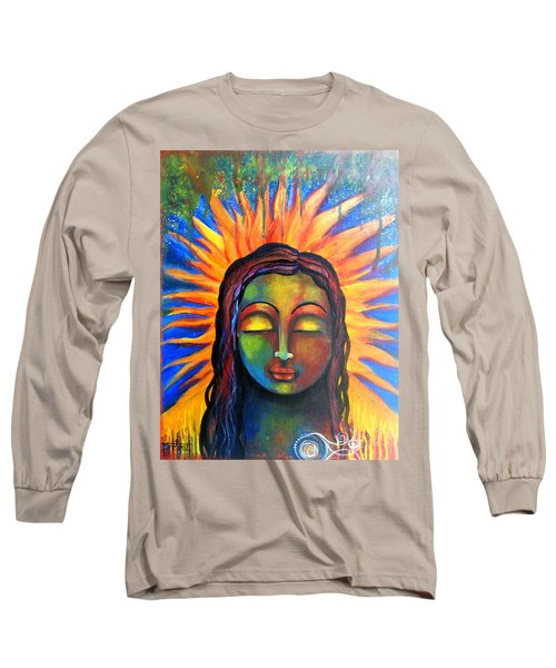 Long Sleeve T-Shirt featuring the mixed media Illuminated By Her Own Radiant Self by Prerna Poojara