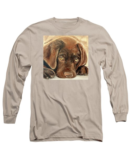 I'm Sorry - Chocolate Lab Puppy Long Sleeve T-Shirt by Julie Brugh Riffey