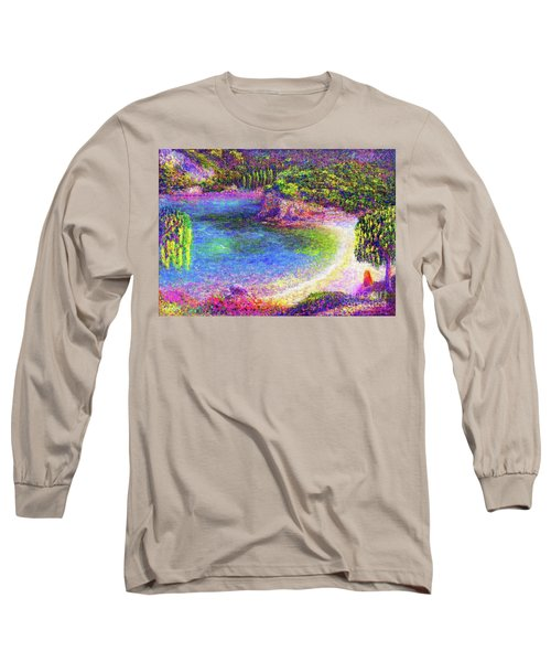 Long Sleeve T-Shirt featuring the painting Imagine, Meditating In Beautiful Bay,seascape by Jane Small