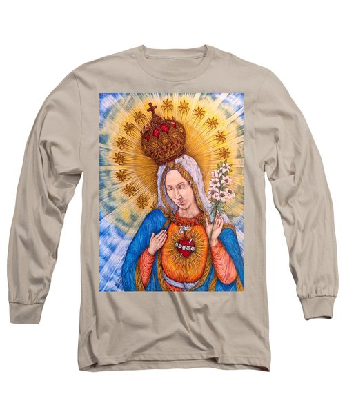 Immaculate Heart Of Virgin Mary Long Sleeve T-Shirt by Kent Chua