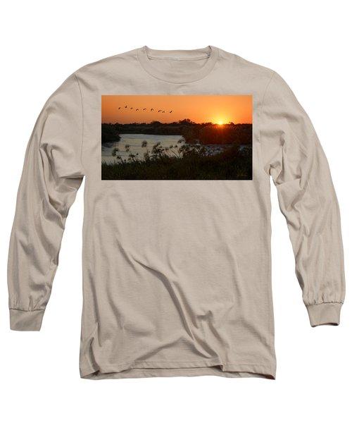 Impalila Island Sunrise Long Sleeve T-Shirt by Joe Bonita