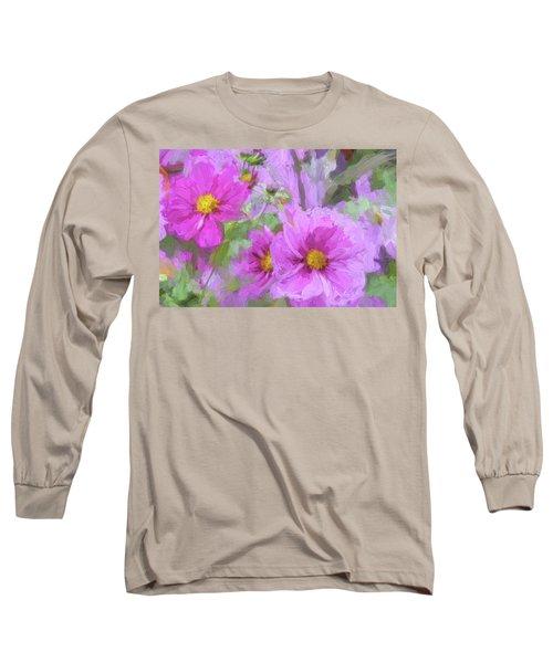 Impasto Cosmos Long Sleeve T-Shirt by Bonnie Bruno