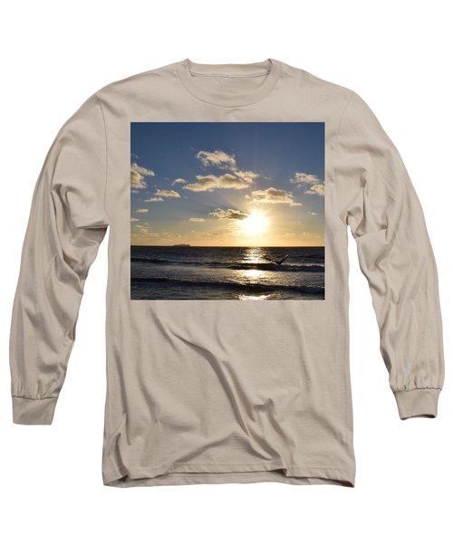 Imperial Beach Sunset Reflection Long Sleeve T-Shirt by Karen J Shine