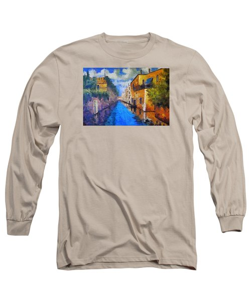 Impressionist D'art At The Canal Long Sleeve T-Shirt by Mario Carini