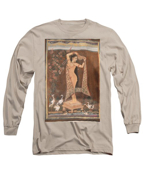 Long Sleeve T-Shirt featuring the painting Indian Lady After Swim by Vikram Singh