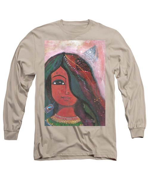 Long Sleeve T-Shirt featuring the mixed media Indian Rajasthani Woman by Prerna Poojara