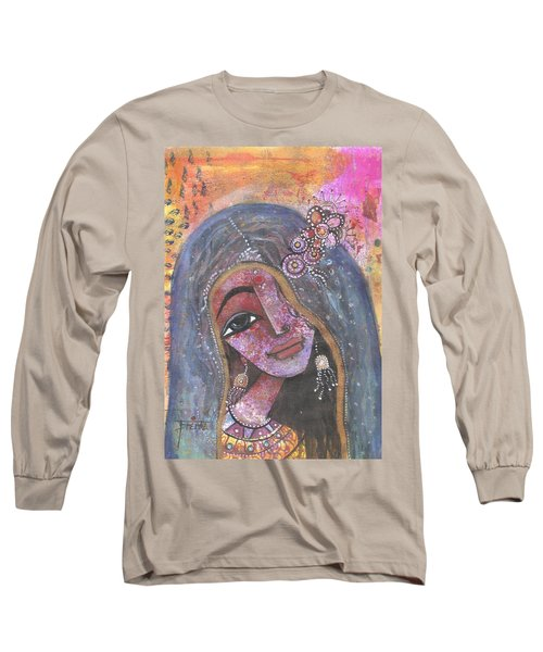 Long Sleeve T-Shirt featuring the mixed media Indian Rajasthani Woman With Colorful Background  by Prerna Poojara