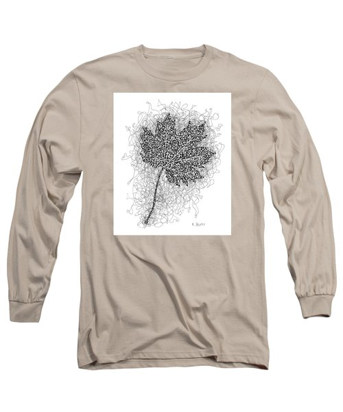 Ink Drawing Of Maple Leaf Long Sleeve T-Shirt