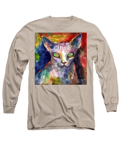 intense watercolor Sphinx cat painting Long Sleeve T-Shirt