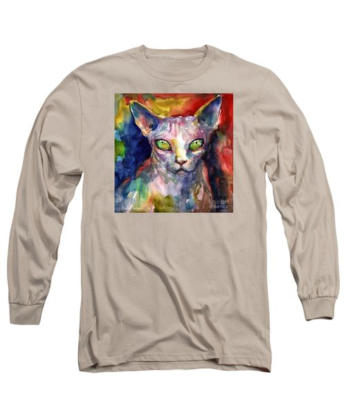 intense watercolor Sphinx cat painting Long Sleeve T-Shirt
