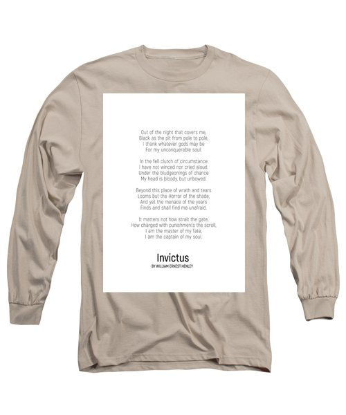 Invictus By William Ernest Henley #minimalist #poem  Long Sleeve T-Shirt