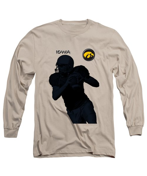 Long Sleeve T-Shirt featuring the digital art Iowa Football  by David Dehner