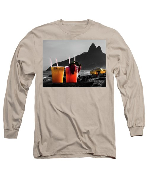 Ipanema With Cocktails Long Sleeve T-Shirt by Cesar Vieira