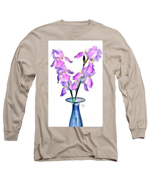 Iris Still Life In A Vase Long Sleeve T-Shirt by Marsha Heiken