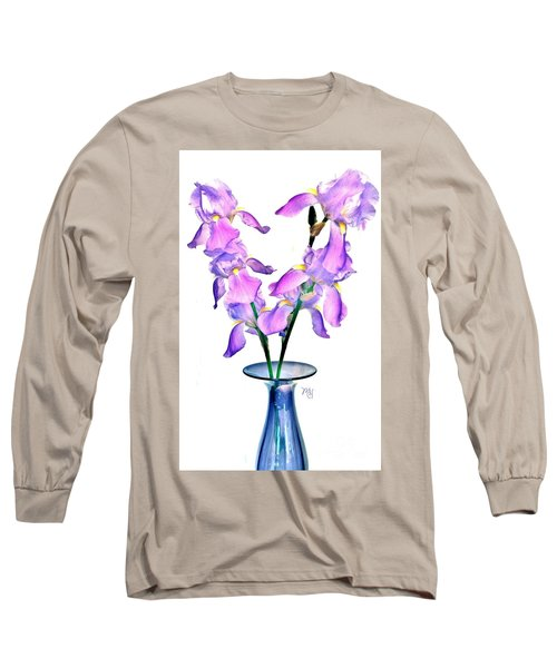 Long Sleeve T-Shirt featuring the digital art Iris Still Life In A Vase by Marsha Heiken