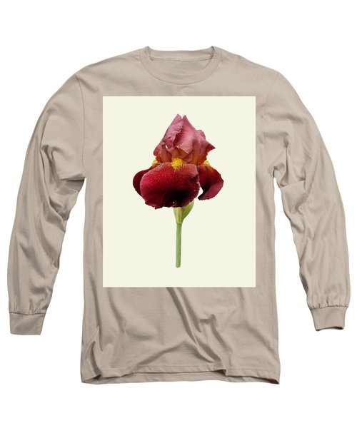 Iris Vitafire Cream Background Long Sleeve T-Shirt by Paul Gulliver