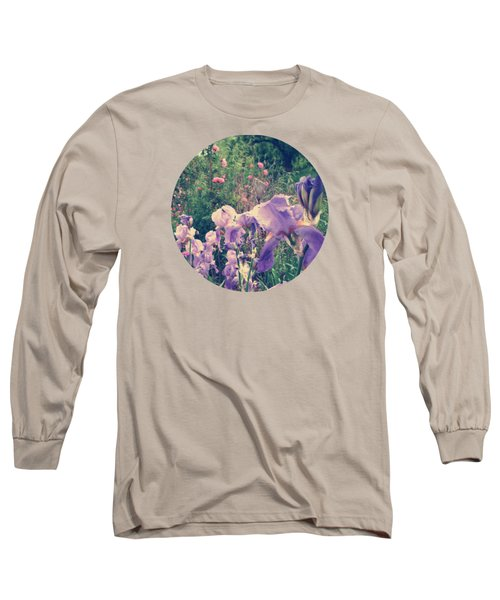 Irises And Roses In The Garden Long Sleeve T-Shirt by Mary Wolf