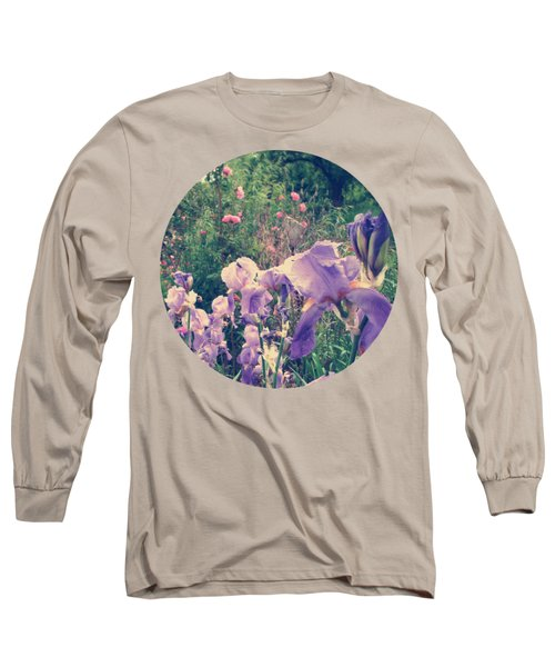 Irises And Roses In The Garden Long Sleeve T-Shirt