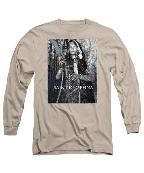 Long Sleeve T-Shirt featuring the painting Irish Light Saint Dymphna by Suzanne Silvir