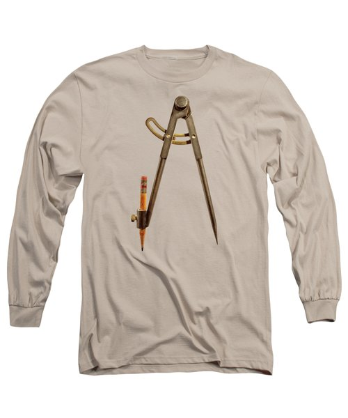 Iron Compass Back Split Color Paper Long Sleeve T-Shirt