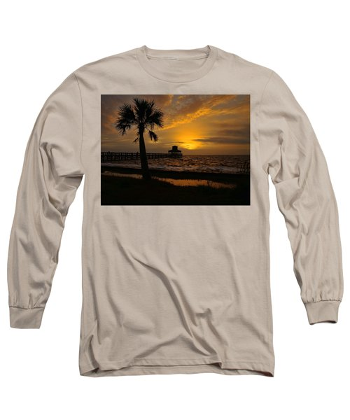 Island Sunrise Long Sleeve T-Shirt by Judy Vincent