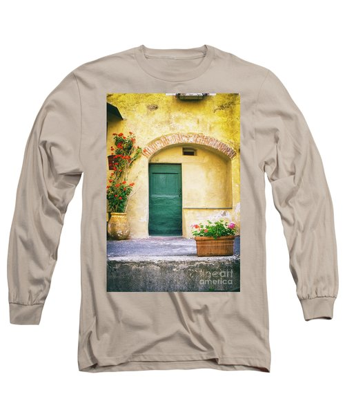 Long Sleeve T-Shirt featuring the photograph Italian Facade With Geraniums by Silvia Ganora